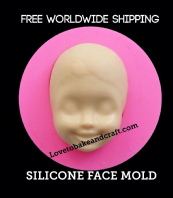 Fairy face  mold, silicone face mold, face mould, ooak  polymer, fimo, sculpey, Free shipping (2)